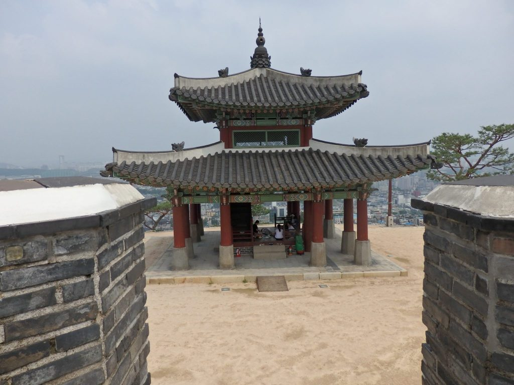 The command post as seen from the crossbow platform above Hwaseong Haenggung Palace in Suwon, South Korea
