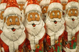 chocolate figures of Santa Claus, being sold in the Netherlands for Christmas