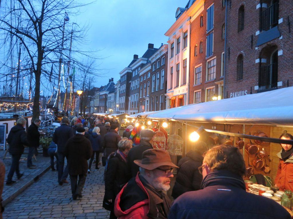 Market stalls along the Hoge der A at WinterWelVaart