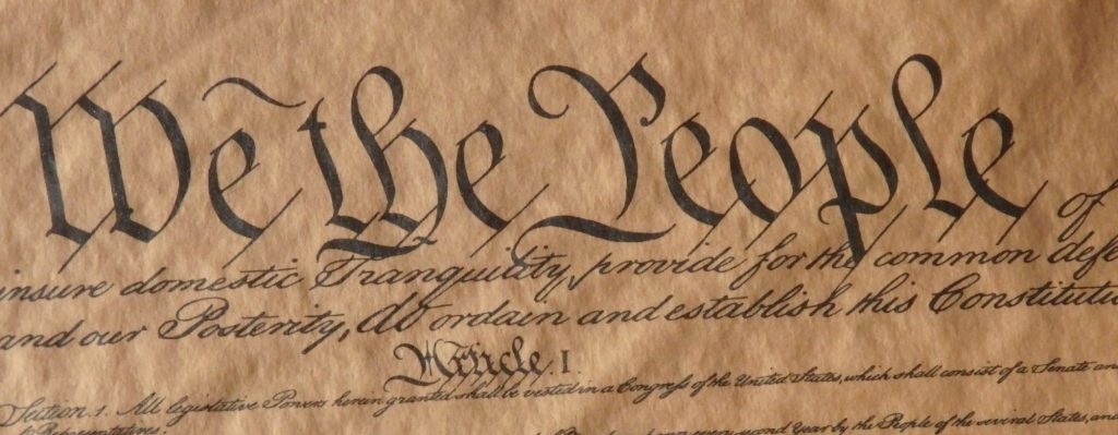 """""""We the People"""": the first three words of the US Constitution, a phrase used a lot by the modern-day Tea Party"""