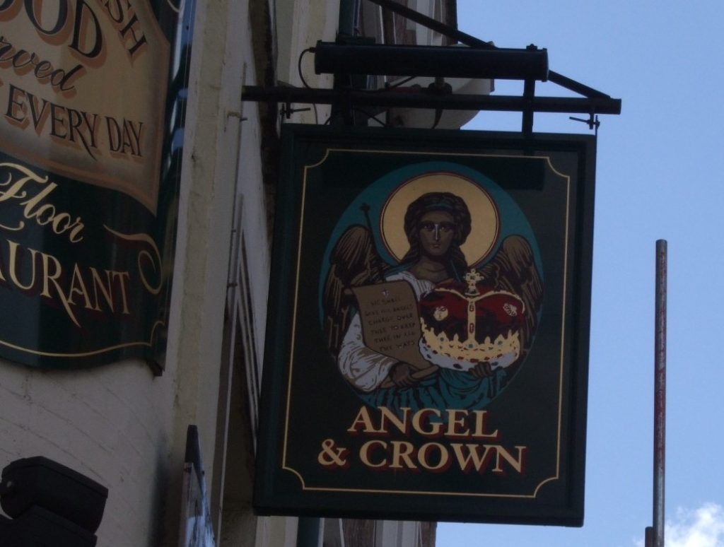 The sign for the Angel and Crown pub in London