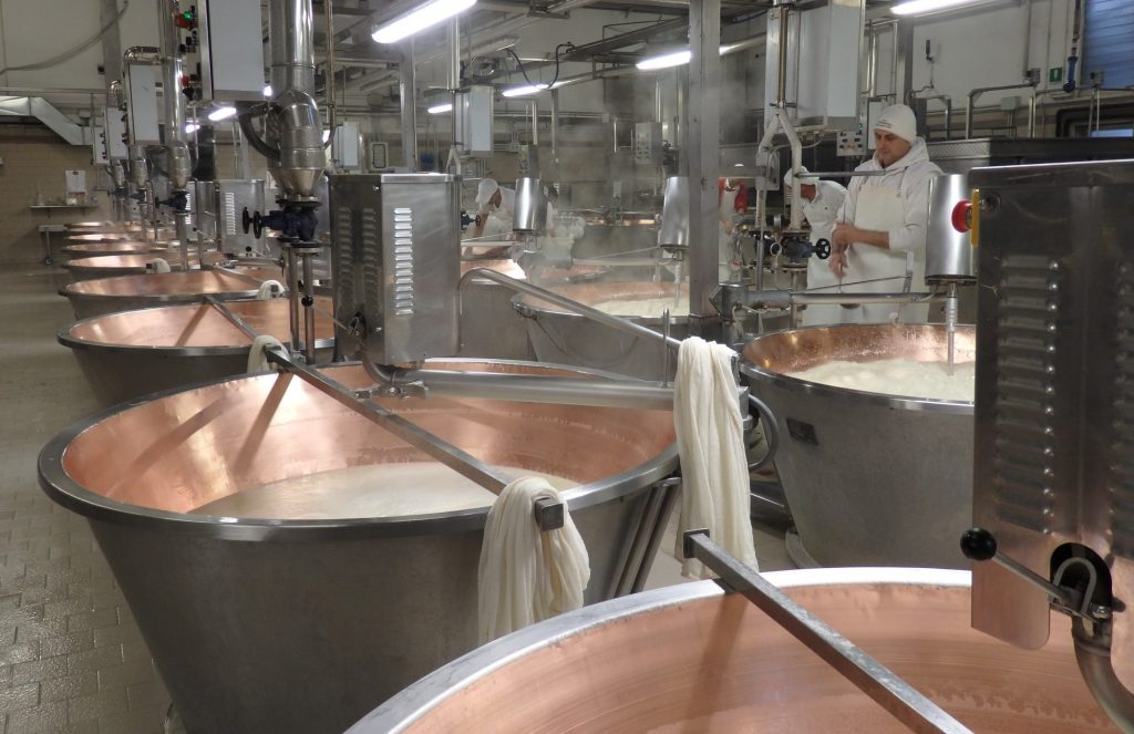 A row of vats with copper insides stretch in a row into the background. Each has a machine above it and bars across its open top. Italian Days food tour