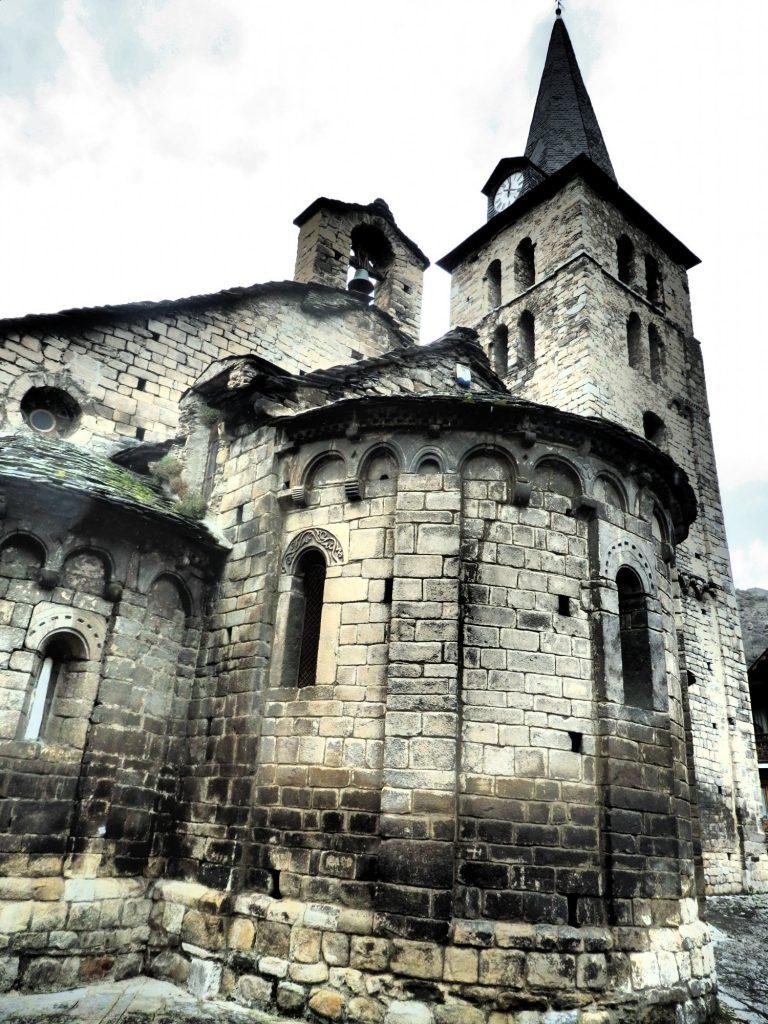 The 11th-12th century Santa Maria de Bossòst church in the Val D'Aran, Spain