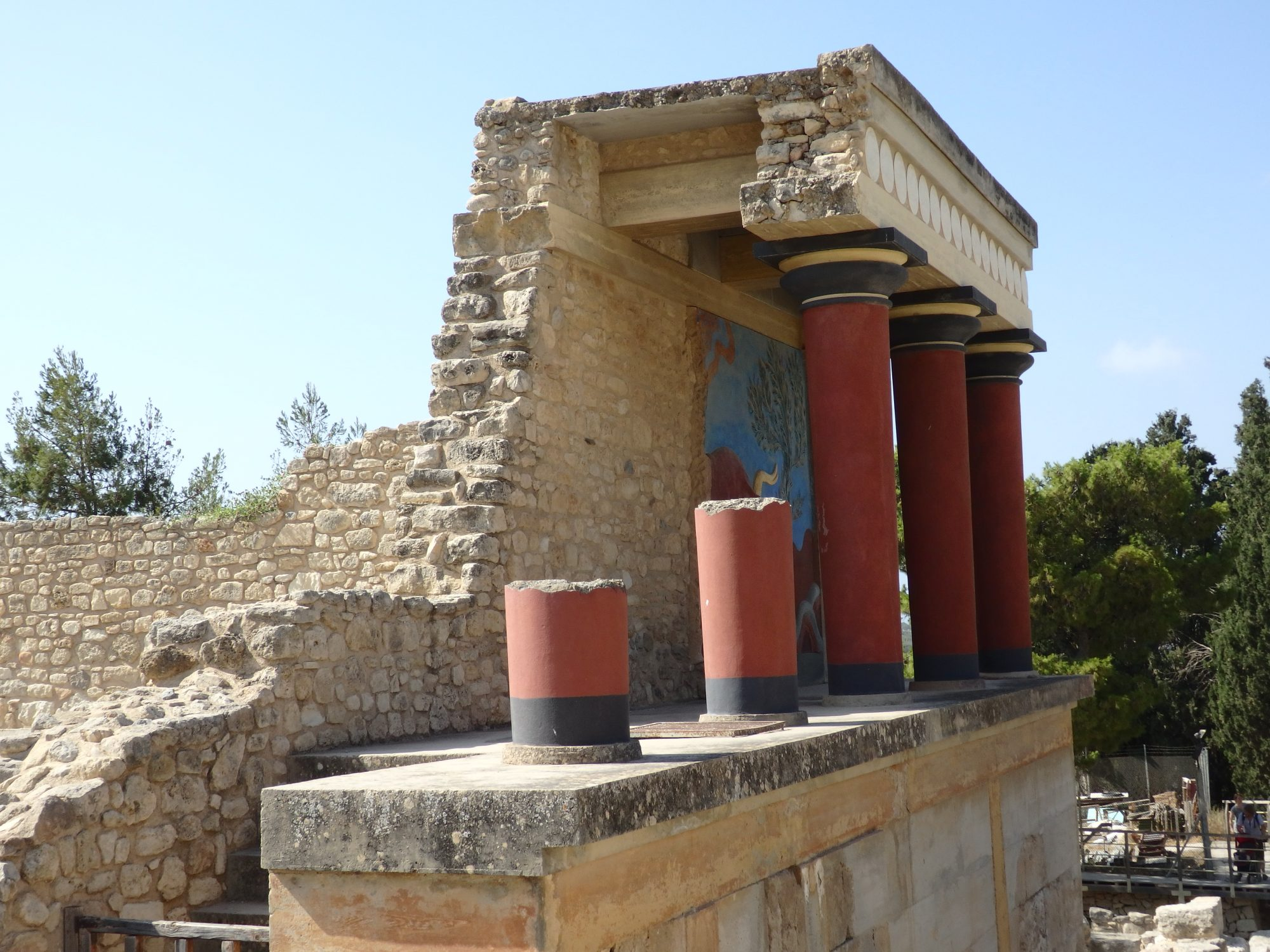 one of the reconstructed building fragments at Knossos, with a replica fresco