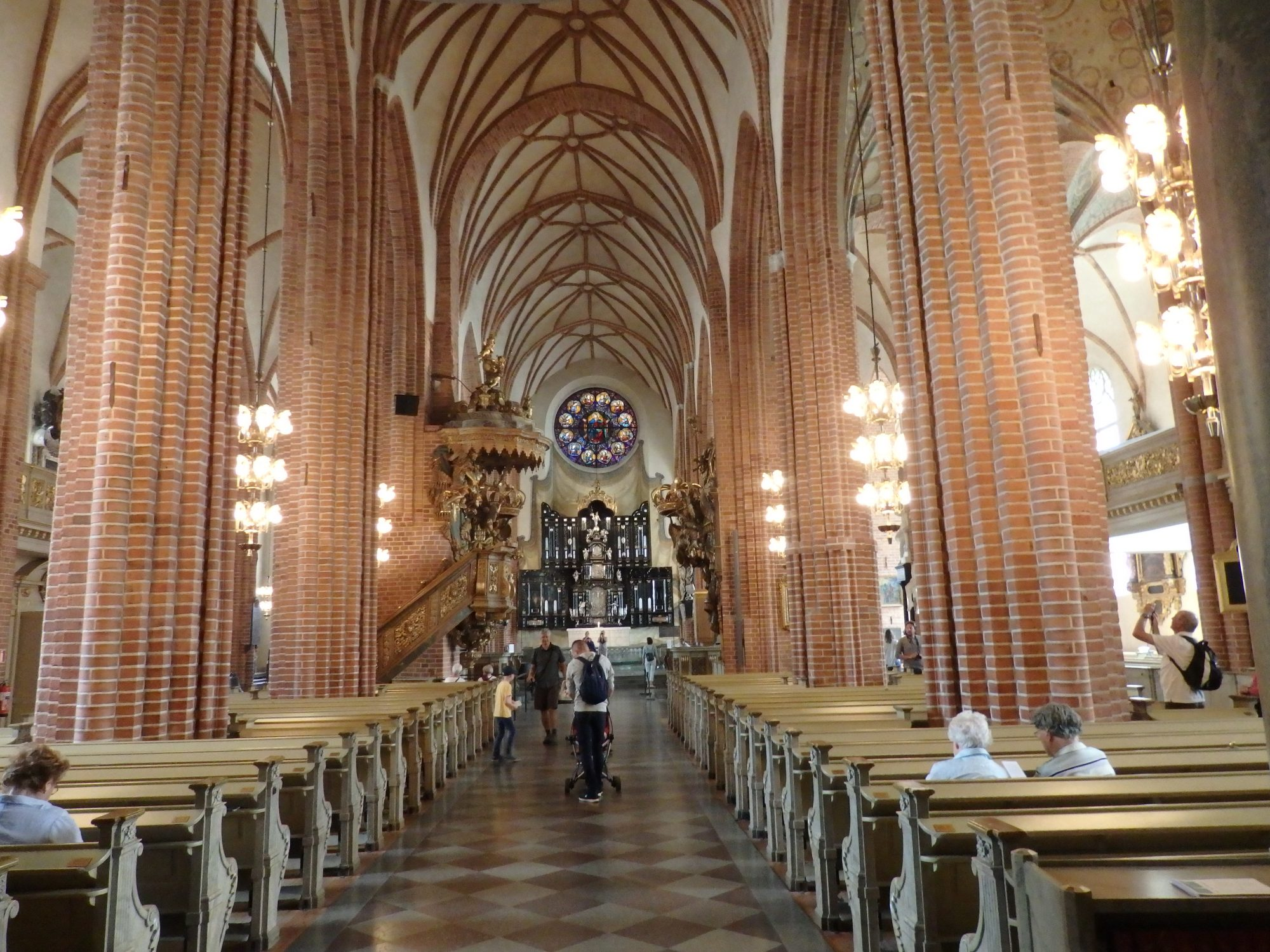 The central aisle of Storkyrkan in Stockholm