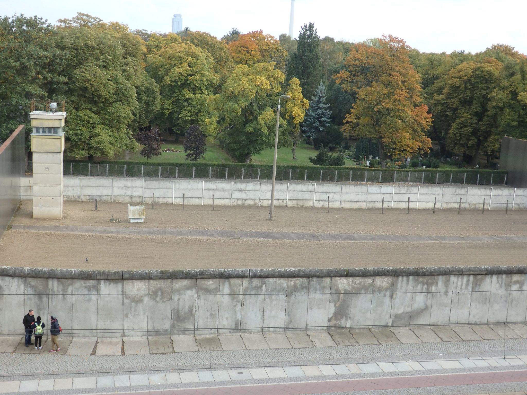 the view of the restored piece of the Berlin Wall in the Berlin Wall Memorial