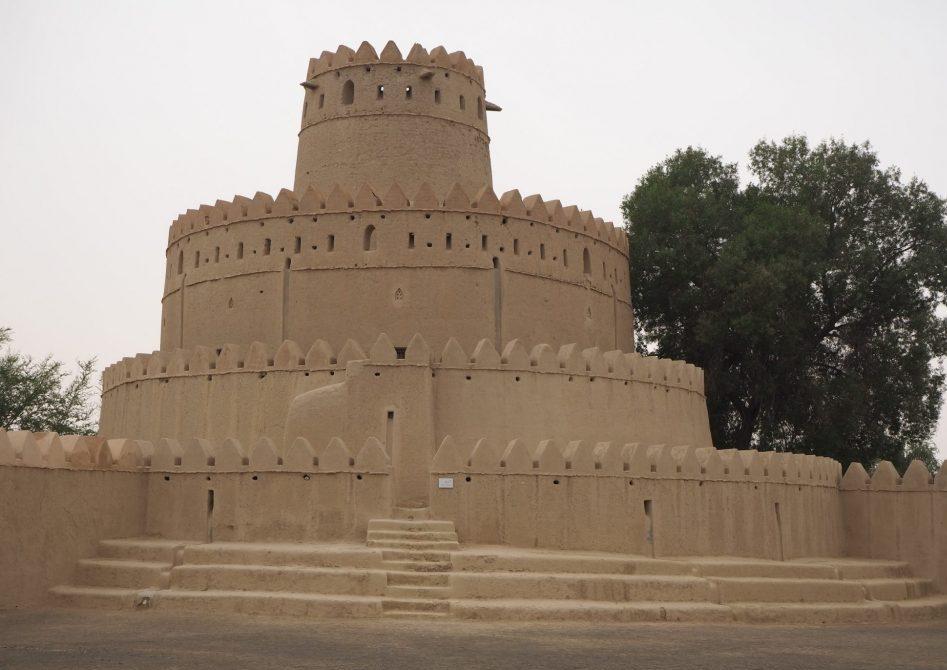 A circular watchtower at Al Jahili Fort in Al Ain, UAE