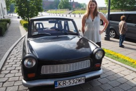 Goshka with the Trabant, who would together take us on our Communism tour of Nowa Huta.