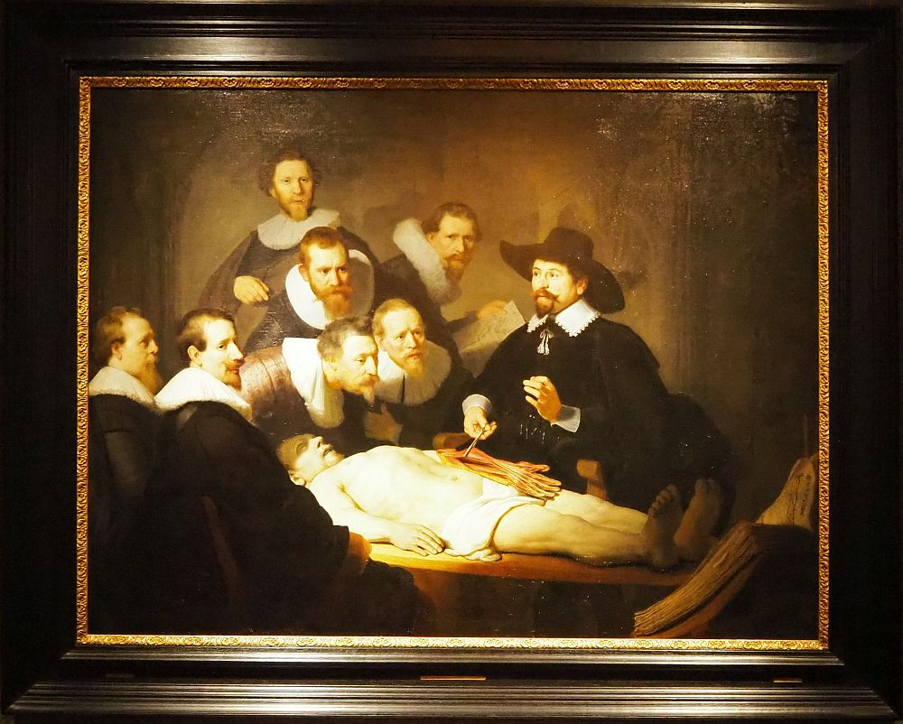 In The Anatomy Lesson, a corpse lies on a table in the light. Dr. Tulp holds tendons from the corpse's arms in a forceps, while seven bearded men look on. At the Mauritshuis Museum in Den Haag.