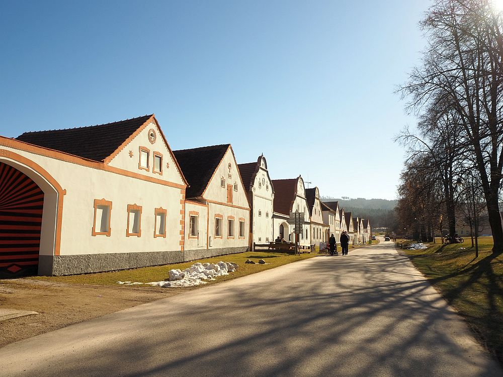 One of the two long rows of houses in Holasovice