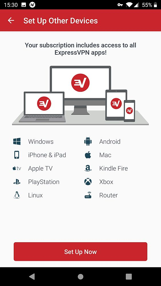 """This ExpressVPN screenshot shows a list of icons and names: Windows, iPhone & iPad, Apple TV, Playstation, Linux, Android, Mac, Kindle Fire, Xbox, Router. Below is a big red button that says """"Set Up Now""""."""