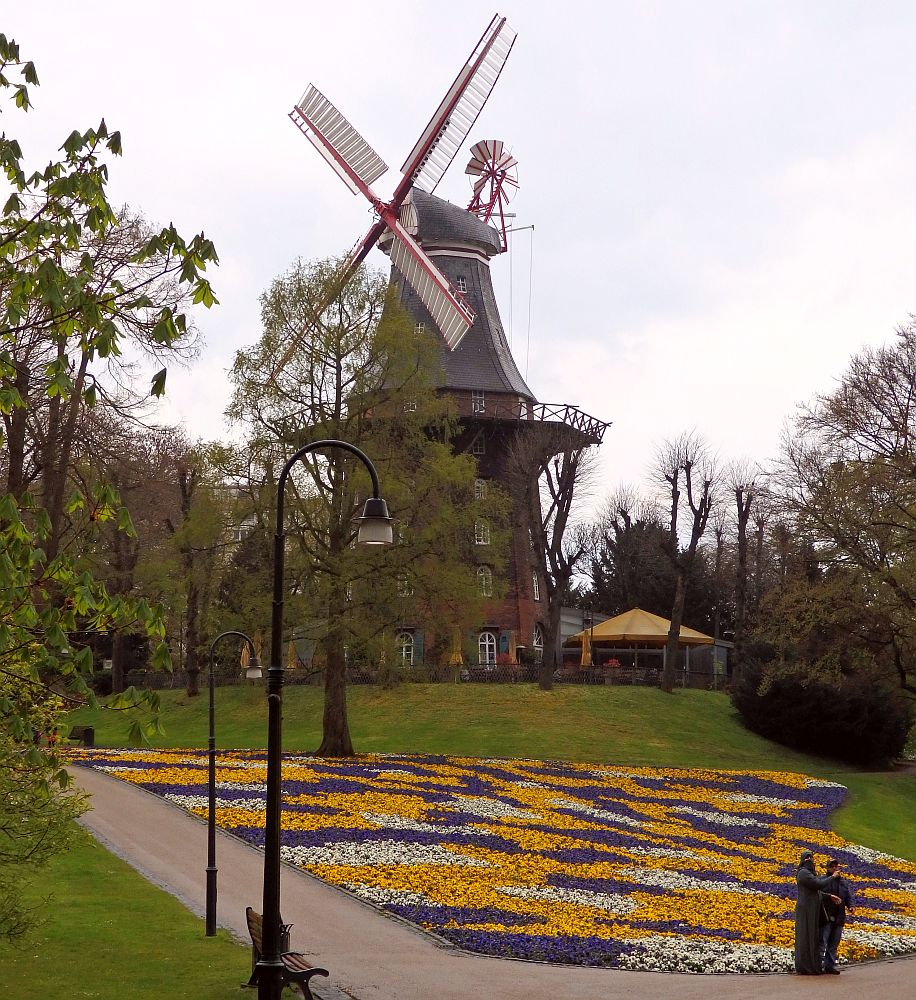 The windmill is quite high: it looks like the cylindrical building under it is four stories tall, made of red brick. Above that is the circular balcony and above that the windmill itself, with 4 vanes and a smaller windmill on the opposite side. In the foreground are colorful flower gardens in yellow, purple and white.