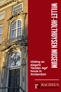 """PInnable image Text: Willet-Holthuysen Museum: Visiting an elegant """"Golden Age"""" house in Amsterdam Image: the front of the house: just the center with the ornamented doorway and the decorative window above it."""