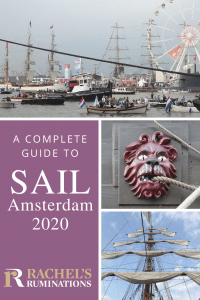 Images: one of the river with lots of boats and a ferris wheel in the background; one closeup of a wooden carving, painted red, of a lion that serves as a hole for a rope to go through; and one looking up at a tall ship mast with five sails, furled on horizontal beams, one above the other.
