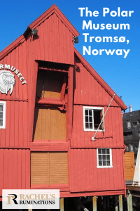 Pinnable image Text: The Polar Museum, Tromso, Norway Image: the museum: a bright red wooden building with a peaked roof and standing on stilts. Blue sky above.