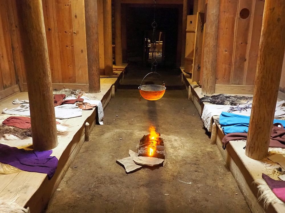 A view down the center of the Viking house's interior. Down the center: a wide dirt floor stretching the length of a long room. On either side, wide low benches about the width of a double bed. Large poles (tree trunks) extend upwards from the benches to the ceiling. In the center of the floor is a small (fake) fire with an iron bowl hanging above it.