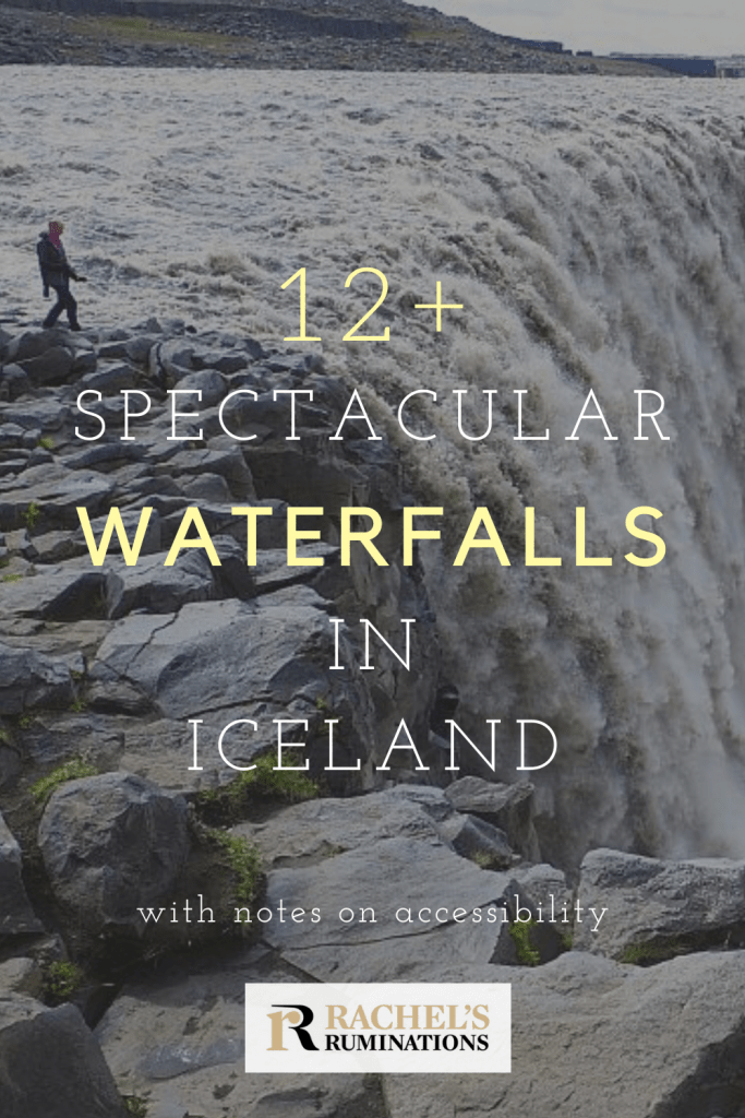Pinnable image Text: 12+ spectacular waterfalls in Iceland Image: Dettifoss waterfall
