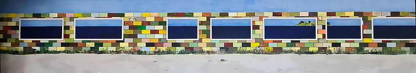 A long horizontal painting shows sand along the bottom, a wall of colorful bricks above that, with big rectangular openings. Through the openings is the sea. On the horizon a green island is visible.