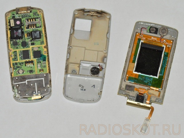 Disassembling cell phone.