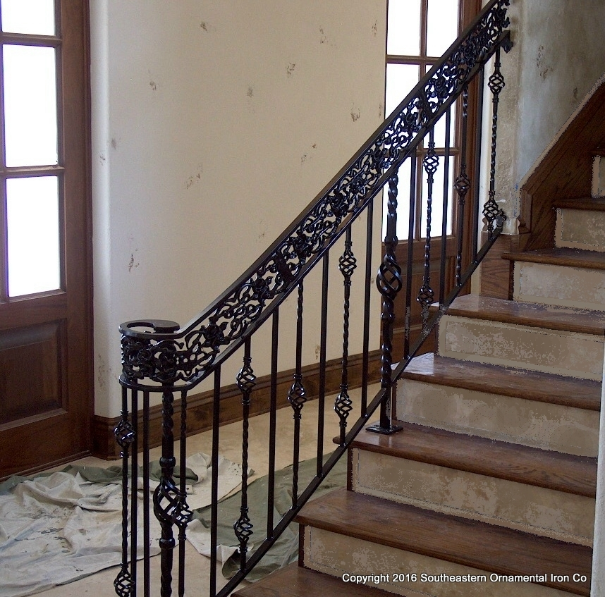 Wrought Iron Stair Railing Southeastern Ornamental Iron Works | Wrought Iron Stair Railing Near Me | Steel | Spindles | Wood | Front Porch Railings | Stair Spindles