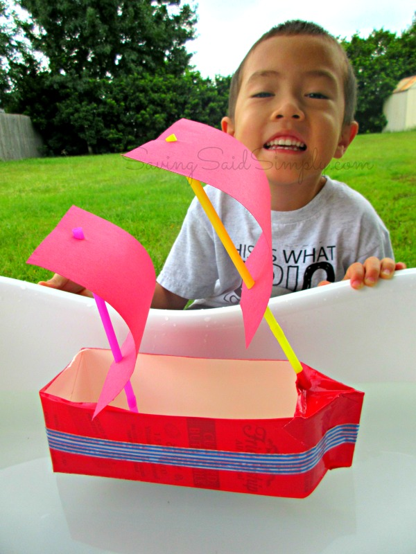 kids-craft-boat This kids craft milk carton sailboat is the perfect kids summer diy. This kids diy is the perfect water play activity for kids for summer. #KidsCrafts #STEM #Crafting #Craft #DIY