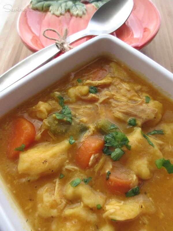 Chicken dumpling pumpkin soup