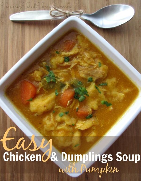 Easy chicken dumplings soup pumpkin