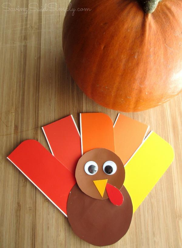 Easy Thanksgiving Kids Craft Paint Chip Turkey
