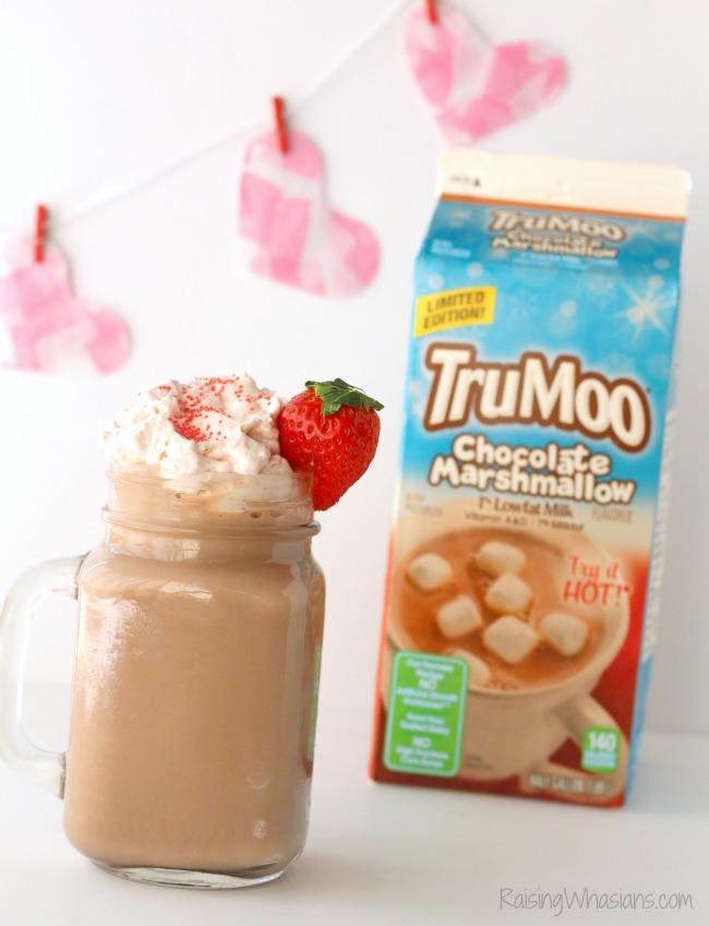 Enjoy a perfect date night in with this Easy Strawberry Whipped Cream + Valentine's Day Hot Cocoa Recipe. Easy hot chocolate recipe! #DrinkRecipe #Recipe