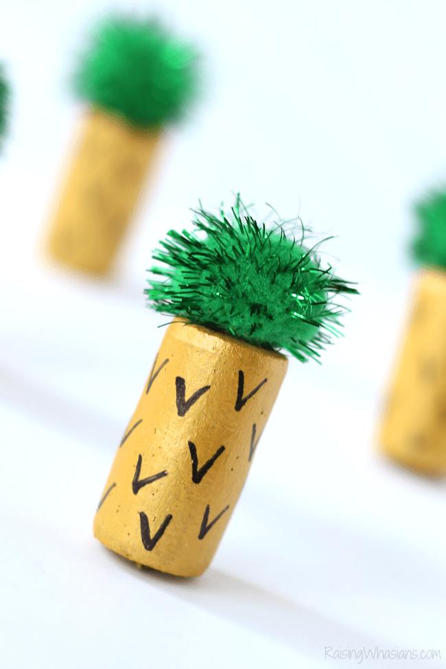 Wine cork kids craft pineapple