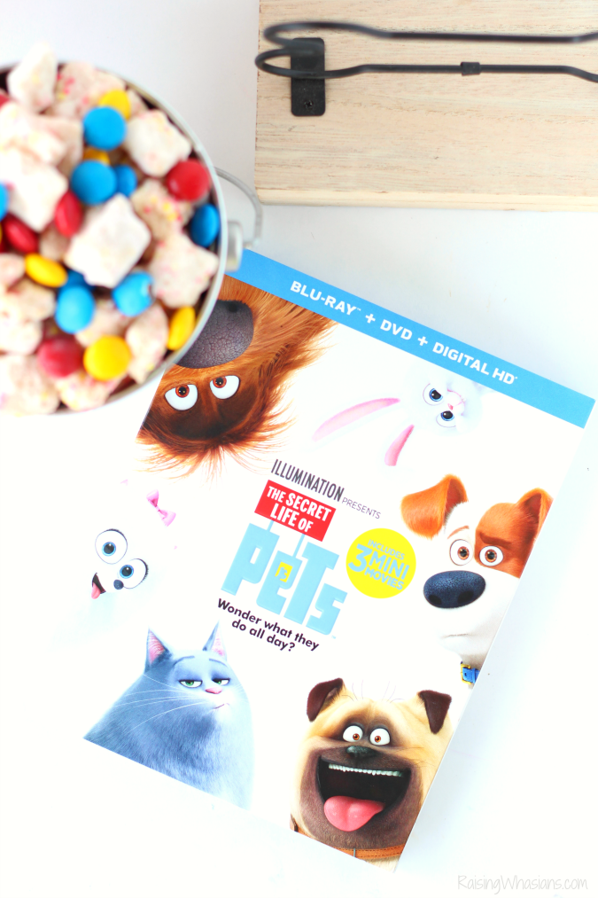 The secret life of pets party The Secret Life of Pets Puppy Chow & Family Movie Night Ideas   Make an easy The Secret Life of Pets inspired snack + ideas for a pet inspired movie party #PartyPlanning #Recipe