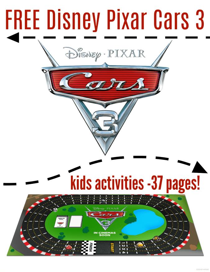 Free cars 3 kids printables