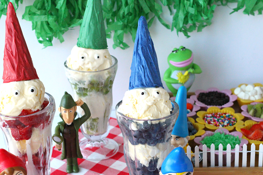 "Who can say ""gnome"" to ice cream? Gather the family for these easy Sherlock Gnomes Ice Cream Party Ideas to celebrate the movie sequel to Gnomeo & Juliet - This icecream party is the perfect summer party for kids or movie party for families. #PartyPlanning #SummerFun"