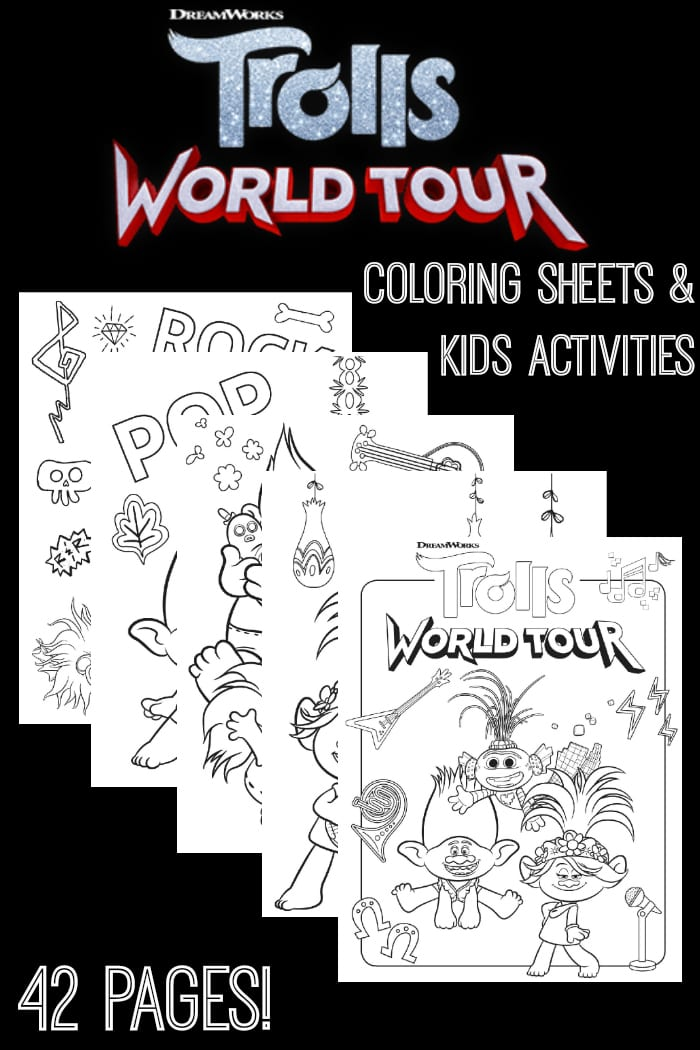 FREE Trolls World Tour Coloring Sheets & Kids Activities