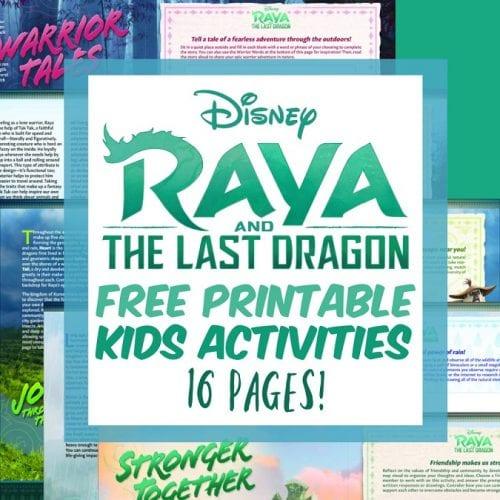 Free Raya and the last dragon printable kids activities