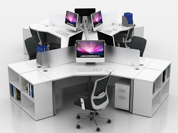 Icarus White Single Bench 120 Degree Office Desk Rapid