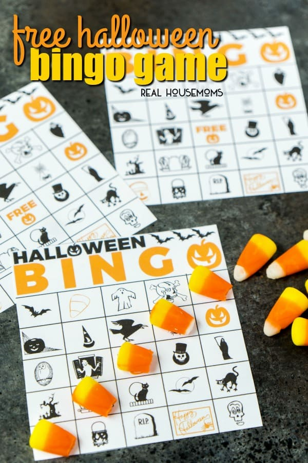 Free Printable Halloween Bingo Game        Real Housemoms This Free Printable Halloween Bingo Game is fun for kids and adults  Simply  print out the cards and see who can be the first to match five Halloween  icons