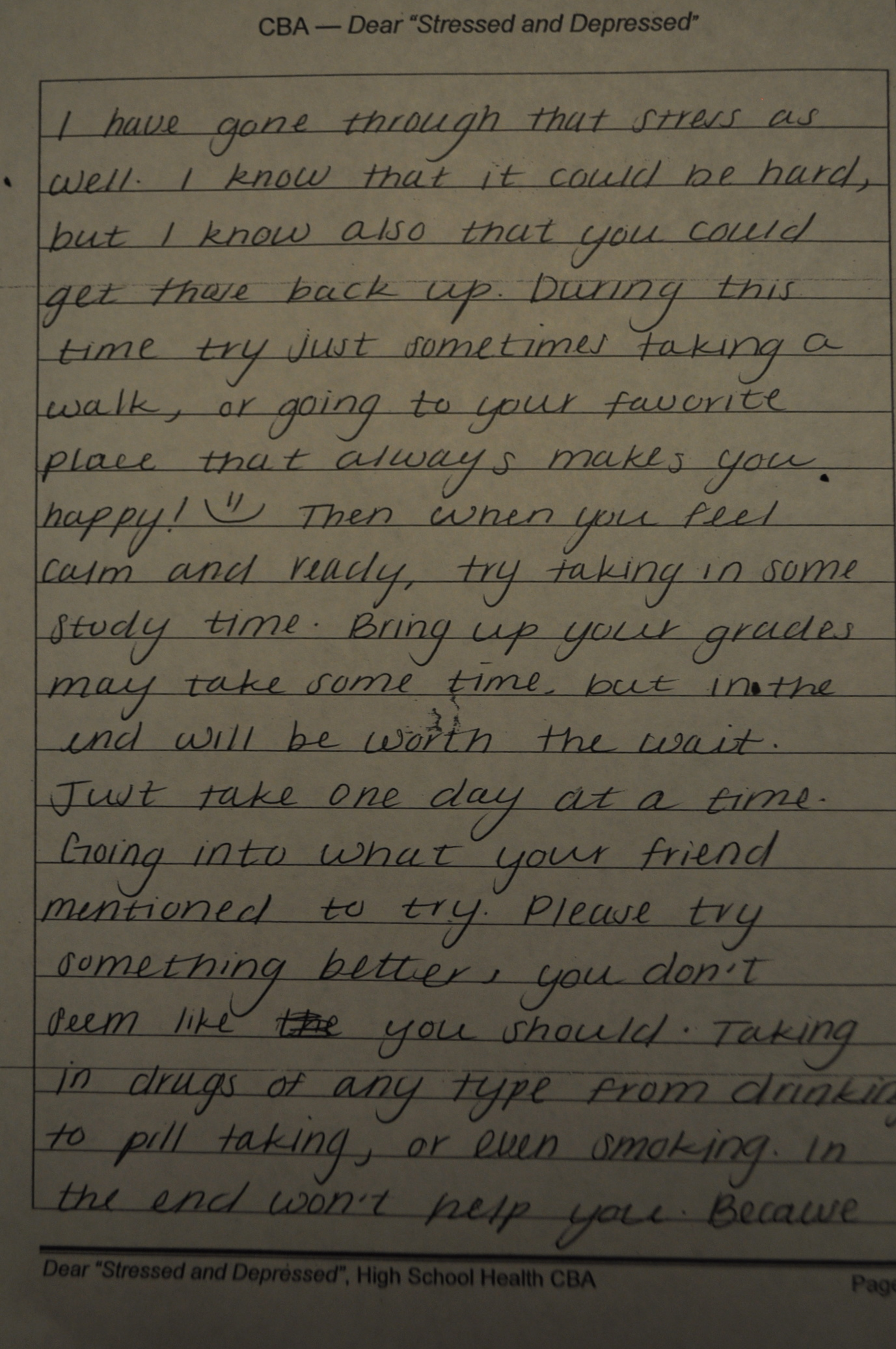 Students Reply To Stressed And Depressed Fcs Teacher
