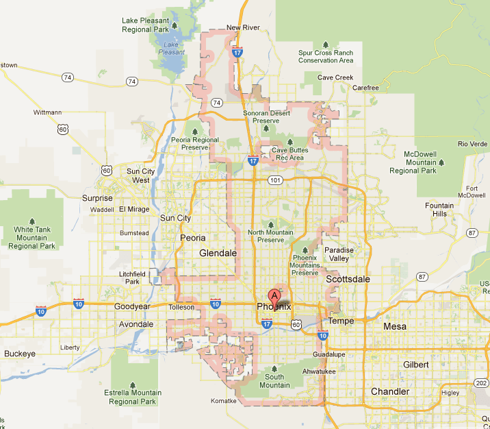 map of arizona landmarks     phoenix map