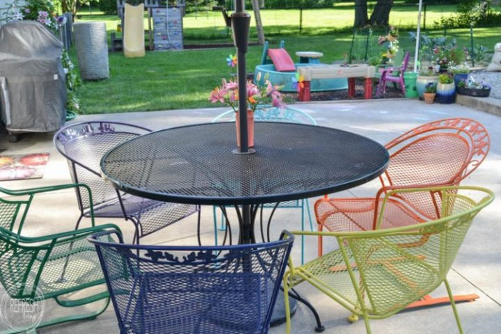 How to Paint Metal Lawn Furniture   Refresh Living I love the multi colored chairs  It s amazing how an old metal patio set