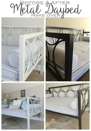 Metal Daybed Makeover   Refresh Restyle From Modern Metal Daybed to Shabby Chic Fab Makeover with Chalk Paint