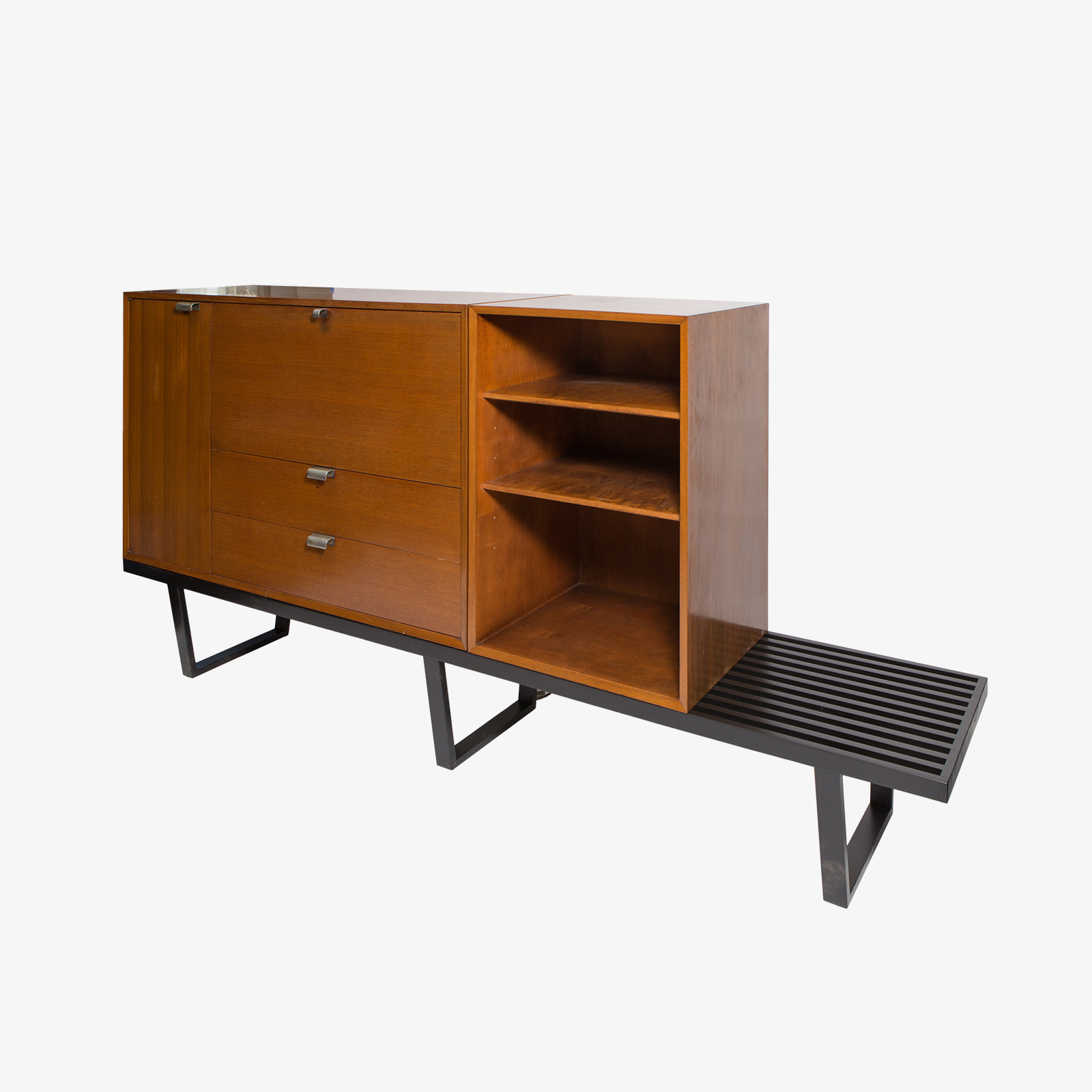 George Nelson Secretary And Bookcase On Black Slatted