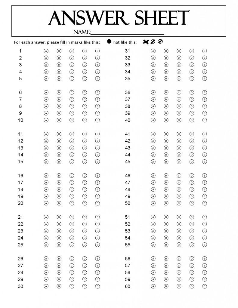Act Printable Sheet Bubble