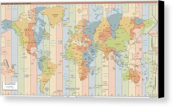 World Time Zone Map Canvas Print   Canvas Art by CartographyAssociates World Map Canvas Print featuring the drawing World Time Zone Map by  CartographyAssociates
