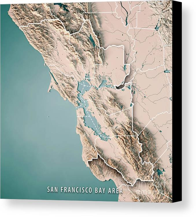 San Francisco Bay Area Usa 3d Render Topographic Map Neutral Canvas     San Francisco Bay Area Canvas Print featuring the digital art San Francisco Bay  Area Usa 3d