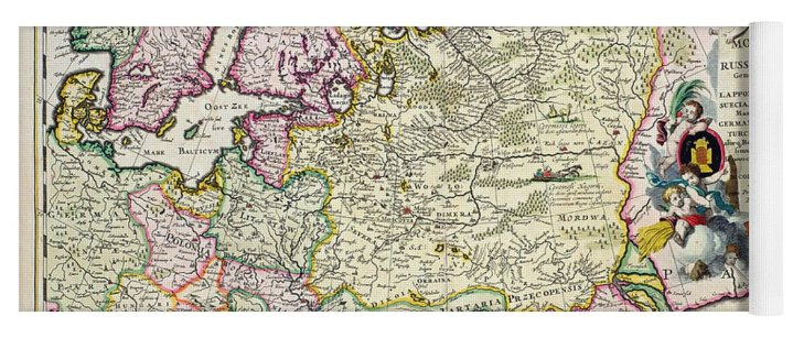Map Of Asia Minor Yoga Mat for Sale by Nicolaes Visscher Maps Yoga Mat featuring the drawing Map Of Asia Minor by Nicolaes Visscher