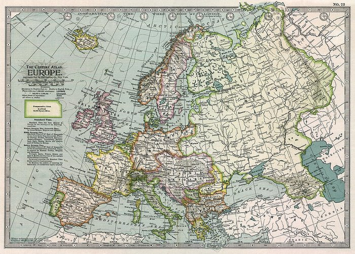 Europe Atlas 1897 Greeting Card for Sale by Compass Rose Maps old Map Greeting Card featuring the photograph Europe Atlas 1897 by Compass  Rose Maps