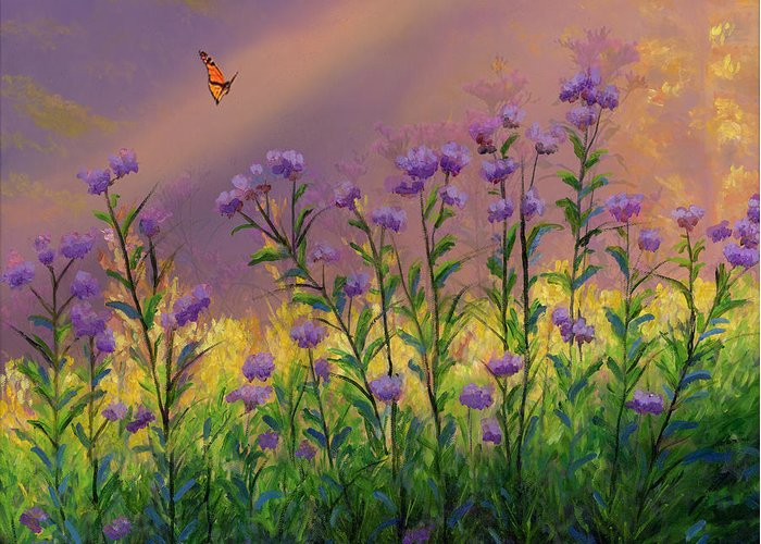 Purple Statice Flowers Greeting Card for Sale by Cecilia Brendel Purple Statice Flowers Oil On Canvas Original Oil Painting Butterfly Yellow  Flowers Floral Sun Light Garden