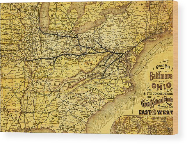 East Coast Map 1900s Wood Print by The Baltimore and Ohio Railroad Map Wood Print featuring the drawing East Coast Map 1900s by The Baltimore  and Ohio Railroad