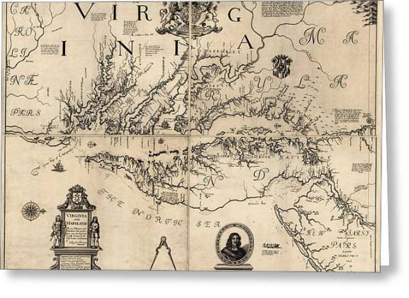 Antique Map Of Virginia And Maryland By Augustine Herrman   1673     Antique Map Of Virginia And Maryland By Augustine Herrman   1673 Greeting  Card by Blue Monocle